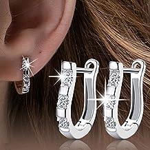 Earring NYKKOLA New Fashion Women 925 Sterling Silver Jewelry White Gemstone Stud Hoop Earrings