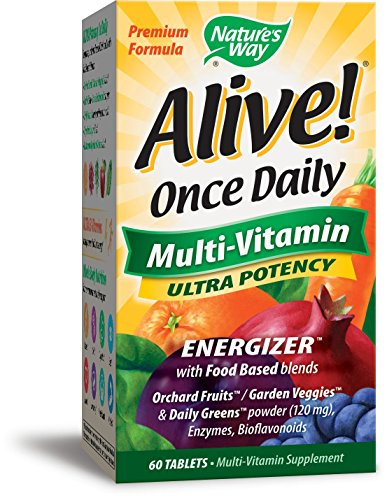 Nature's Way Alive!® Once Daily Adult Multivitamin, Ultra Potency, Food-Based Blends (200mg per serving), 60 Tablets (Daily 60 Tabs Once)