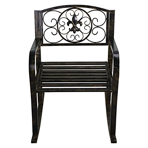 Metal Rocking Chair Seat Patio Furniture Porch Seat Bronze Rocker Home Garden Backyard #229 (Nz Furniture Garden Rustic)