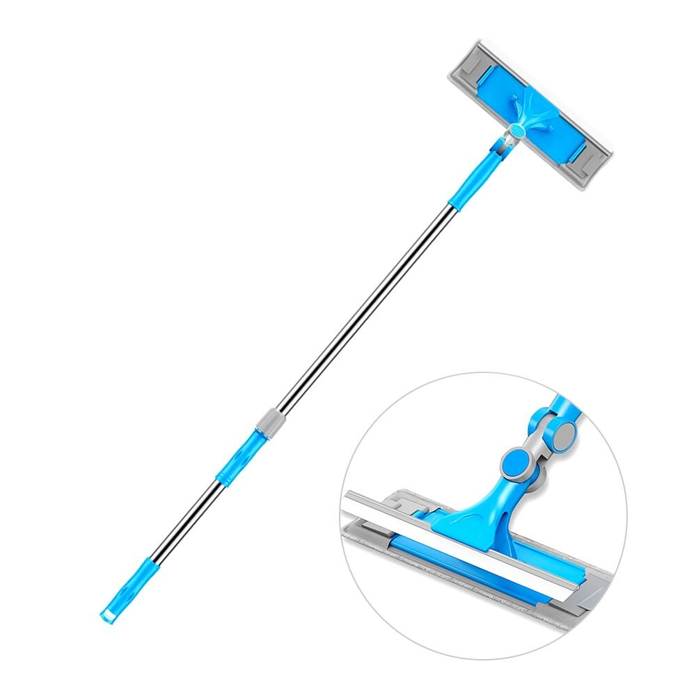 All-Purpose Window Squeegee with Scrubber 3-in-1, Professional Squeegee Cleaner and Microfiber Scrubber with Extension Pole, Outdoor Extendable Glass Cleaning Kit for Car, Shower, High Windows (360) Ulihome