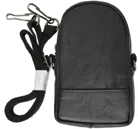 Leather Cellphone Camera Pouch with Neck Strap by Marshal