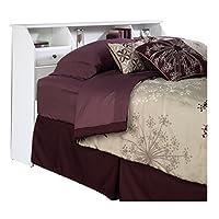Sauder 411205 Shoal Creek Bookcase Headboard, Full/Queen, Soft White finish