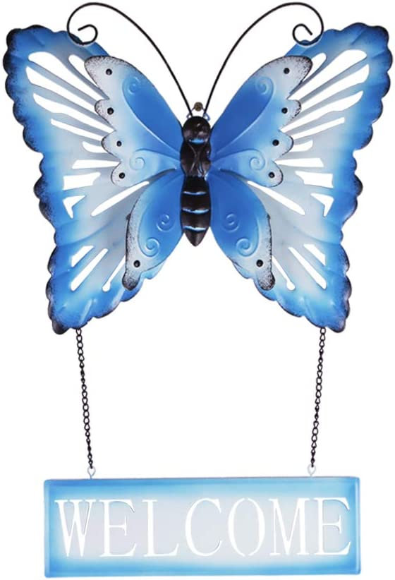 Keygift Metal Butterfly Wall Decor, Rusty Blue Butterfly Wall Art with Removable Welcome Sign, Use for Indoor Wall Decor and Outdoor Hanging Decoration - 19x13x2 Inches