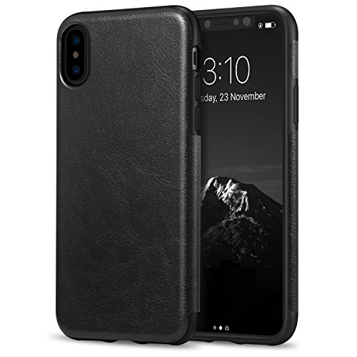 TENDLIN Compatible with iPhone Xs Case/iPhone X Case Premium Leather Outside and Flexible TPU Silicone Hybrid Slim Case (Black)