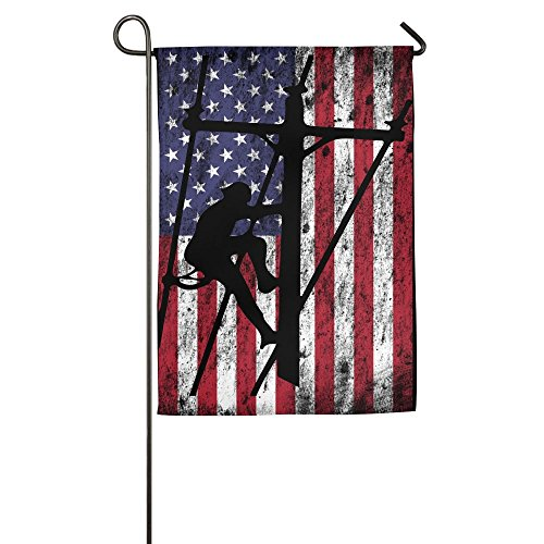 - Lineman American Flag Polyester Garden Flag House Banner For Party Yard Home Outdoor Decor 1218inch