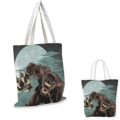 Wolf easy shopping bag Night Skyline with Full Moon and Stars Werewolf Attacking Position Ravenous Being emporium shopping bag Multicolor. 16
