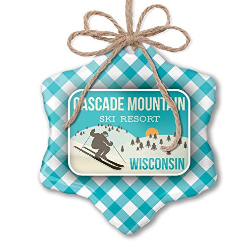 (NEONBLOND Christmas Ornament Cascade Mountain Ski Resort - Wisconsin Ski Resort Blue Teal Turquoise Plaid)