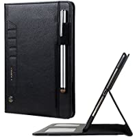 TechCode Tab A 10.1 Case Samsung, Premium PU Leather Tablet Smart Stand Case Slim Cover with Card Slot&Hand Strap for Samsung Galaxy Tab A 10.1 (2016 Version SM-T580N/SM-T585N) (Tab A 10.1, Black)