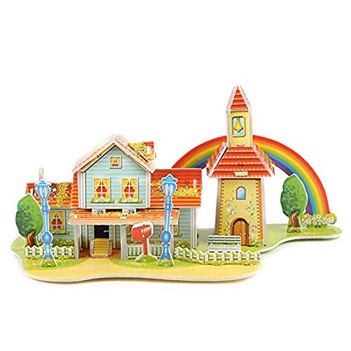 Outsta 3D Paper Board Puzzle Early Learning Construction Assemble Kids Toy, Gift for Children Boys Girls (Rainbow Cabin)