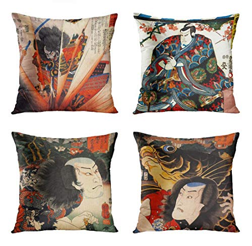 ArtSocket Set of 4 Throw Pillow Covers Japan Samurai Ninja Sumo Geisha Japanese Warrior The Great Ukiyo Dragon Robe Decorative Pillow Cases Home Decor Square 20x20 Inches -