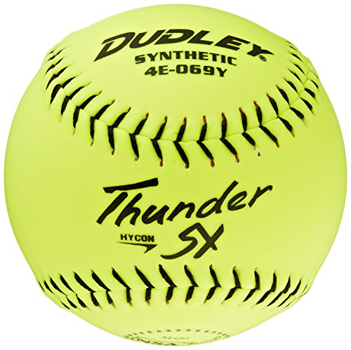 Dudley NSA Thunder SY Hycon 0.52 Slowpitch Synthetic Cover Softball (1-Dozen), Yellow, 12-Inch (Nsa Softball)