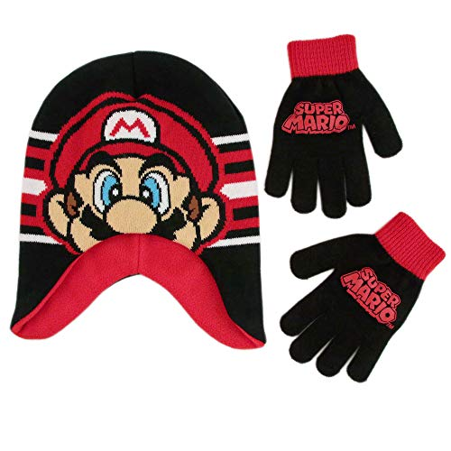 Nintendo Boys' Little Super Mario Hat and Gloves Cold Weather Set, Black/red/White, Age 4-7 -