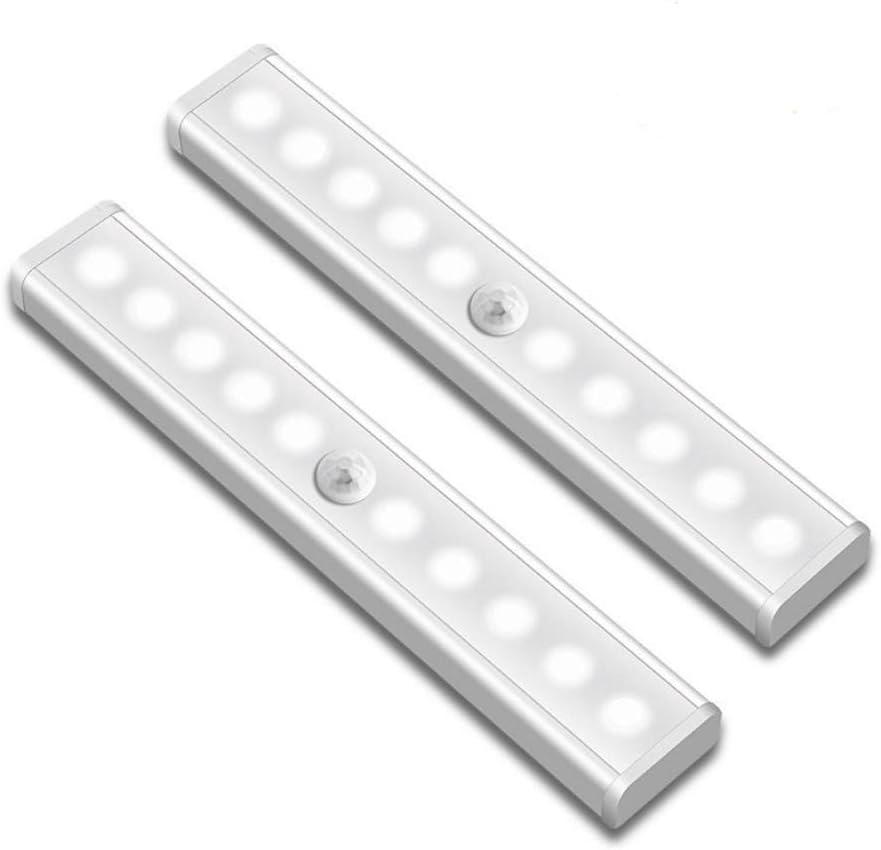 LED luz de armario, stick-on en cualquier lugar portátil inalámbrico de poca luz LED bajo armario luces 10-LED luz nocturna Sensor de movimiento para armarios Pasillo Escalera: Amazon.es: Bricolaje y herramientas