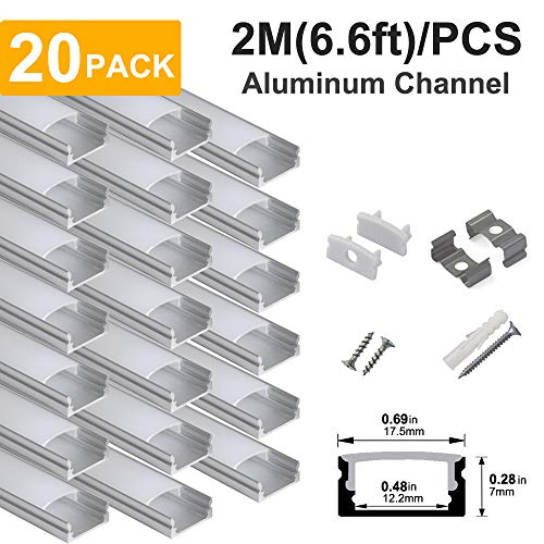 hunhun 20-Pack 6.6ft/ 2Meter U Shape LED Aluminum Channel System with Milky Cover, End Caps and Mounting Clips, Aluminum Profile for LED Strip Light Installations, Very Easy Installation
