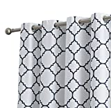 HLC.ME Trellis Print Faux Silk 100% Blackout Thermal Room Darkening Window Curtain Grommet Panels - Energy Efficient - for Living Room & Bedroom - Set of 2 (52'' W x 96'' L, White/Navy Blue)
