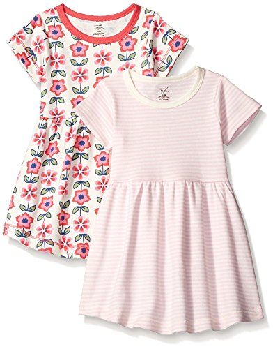(Touched by Nature Baby Girls' Organic Cotton Dress, 2 Pack, Flower Short Sleeve, 3 Toddler)