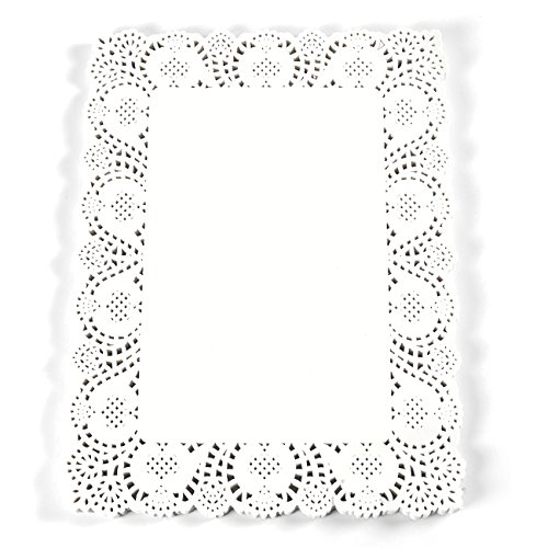 Paper Doilies - 100-Pack Square Lace Placemats for Cakes, Desserts, Baked Treat Display, Ideal for Weddings, Formal Event Decoration, Tableware Decor, White - 15.5 x 11.7 Inches (Square Paper Lace Doilies)