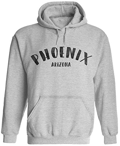 (Unisex Mens City of Phoenix Arizona Pullover Hooded Sweatshirt (Ash Grey, 2XL))