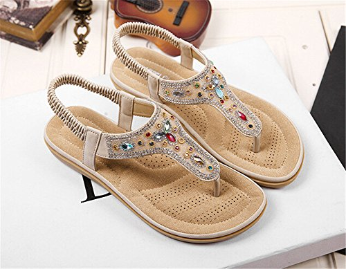 Fortuning's JDS New fashion Ethnic trend T-Strap flat sandals thongs for ladies apricot iW6kP9O