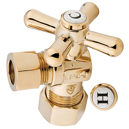 Kingston Brass CC54402X Vintage 1/2-Inch Compression X 1/2-Inch OD Angle Stop, 2-1/8-Inch, Polished Brass (Stop Angle Vintage)