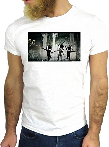 T SHIRT JODE Z1970 ROBOT COMPUTER FOREST CREEPY PARTY FUN COOL FASHION GGG24 BIANCA - WHITE S