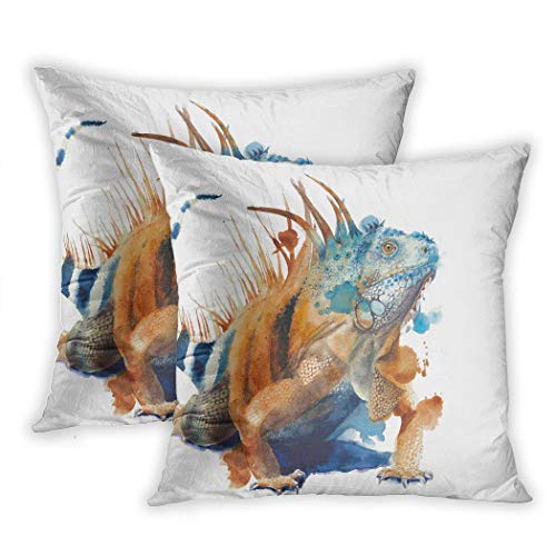 Meofo Set of 2 Throw Pillow Cover Green Iguana Lizard Big Reptile Wild Animal White Decorative Polyester Soft Pillowcase Sofa Cushion Bedroom Car Square 18 x 18 Inch