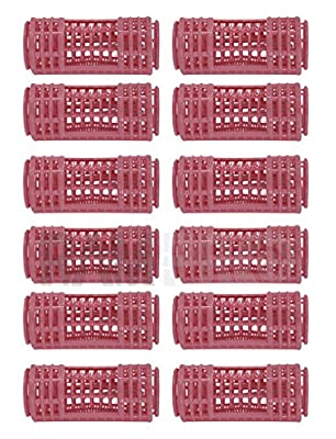 """RAM-PRO 12Pc Large 3"""" x 1"""" Snap On (Clip-On) Hair Rollers PINK"""