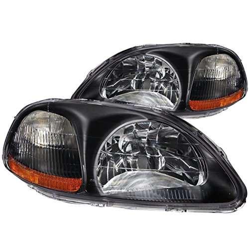 Anzo USA 121067 Honda Civic Crystal Black Headlight Assembly - (Sold in Pairs)