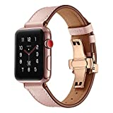 BONSTRAP Compatible Apple Watch Strap Leather Watch Strap 38mm 40mm Mens Womens