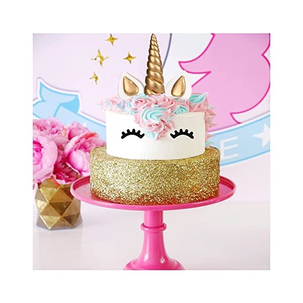 LUTER Cake Topper, Handmade Gold Unicorn Birthday Cake Topper, Reusable Unicorn Horn, Ears Eyelash Set, Unicorn Party… 5