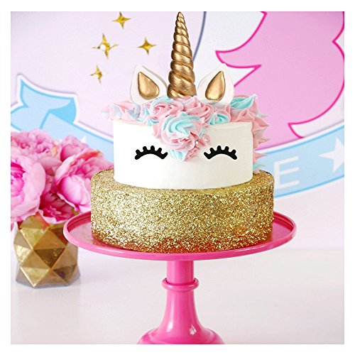 Cake Topper, LUTER Bigger Size Handmade Gold Unicorn Birthday Cake Topper, Reusable Unicorn Horn, Ears and Eyelash Set, Unicorn Party Decoration for Birthday Party, Baby Shower and Wedding (Set of 5) by LUTER (Image #6)