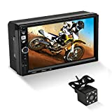 MiCarBa 7 Inch Double Din Car Stereo Android System GPS Navigation Support USB FM AUX SD, HD Touch Screen Car Stereo with Remote Rear View Camera (CL8702CAM)