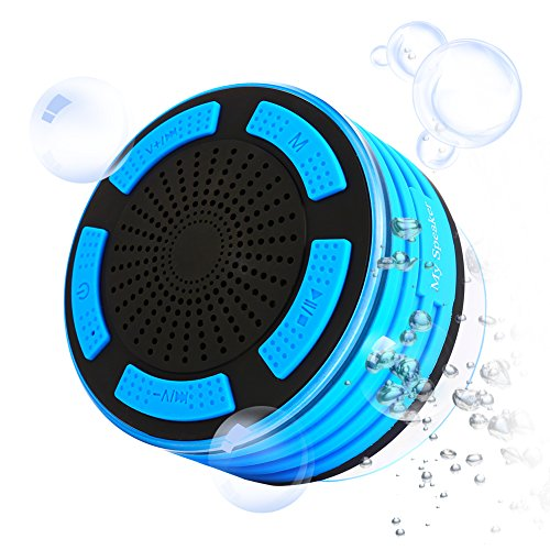 Bluetooth Speaker with Built-in Mic, IPX7 Waterproof Speaker Designed for Outdoor, Portable and Wireless Speaker, Multiple Color LED Light, FM Radio Mode Shower Speaker, Blue