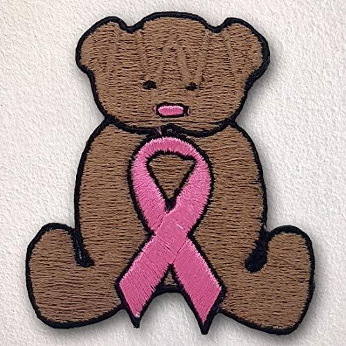 Parche con diseño de oso de peluche y cáncer de mama con lazo rosa ...