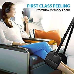 Airplane Footrest – Travel Foot Rest (Thickened Memory Foam), Airplane Travel Accessories, No Clashing Foot Hammock…