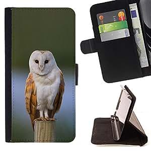 BullDog Case - FOR/Apple Iphone 4 / 4S / - / owl winter snow perched feathers white /- Monedero de cuero de la PU Llevar cubierta de la caja con el ID Credit Card Slots Flip funda de cuer