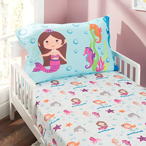 EVERYDAY KIDS Toddler Fitted Sheet and Pillowcase Set -Undersea Mermaids Adventure- Soft Microfiber, Breathable and Hypoallergenic Toddler Sheet -