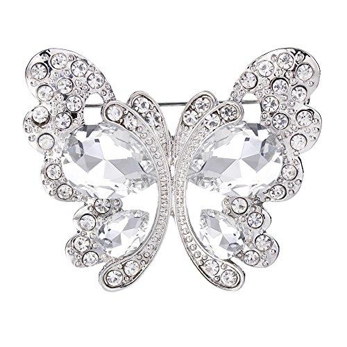 BriLove Women's Wedding Bridal Crystal Teardrop Butterfly Brooch Pin Clear Silver-Tone Butterfly Silver Tone Brooch