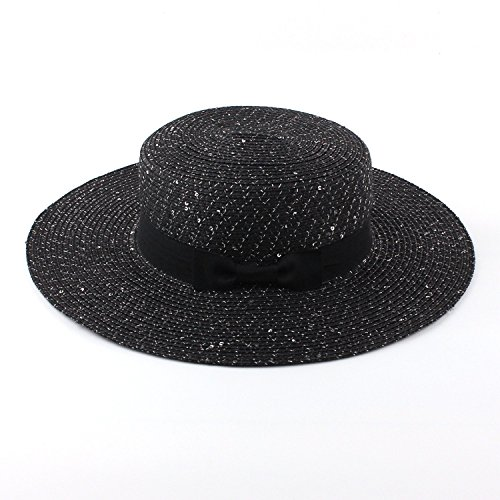 LOKOUO beauty sequins embellish flat straw hat bow big hats ladies summer,onesize,NavyBlue