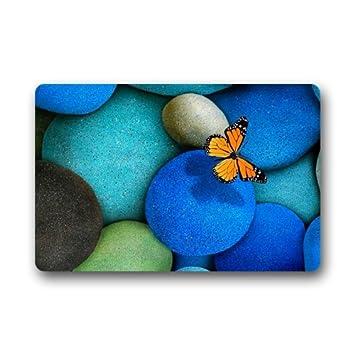Blue Pebble Stone And Butterfly Doormats Floor Mat Door Mat Rug Indoor/Outdoor  Mats Welcome
