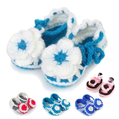 Tefamore Sandalias Zapatos Bebe de Flor de Punto de Encaje de Ganchillo Niño recién nacido A