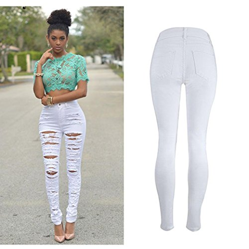 Price comparison product image White Jeans, Hemlock Women Pencil Trousers Skinny Ripped Denim Pants (S,  White)