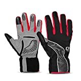 4ucycling Touch-screen Windproof Thermal Multifunction Warm Gloves for Outdoor Cycling Camping Jogging - black Red 6058-L