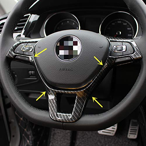 (Sport Style Carbon Fiber Print Steering Wheel Cover Trim for VW Volkswagen Atlas Tiguan Golf Jetta Passat)