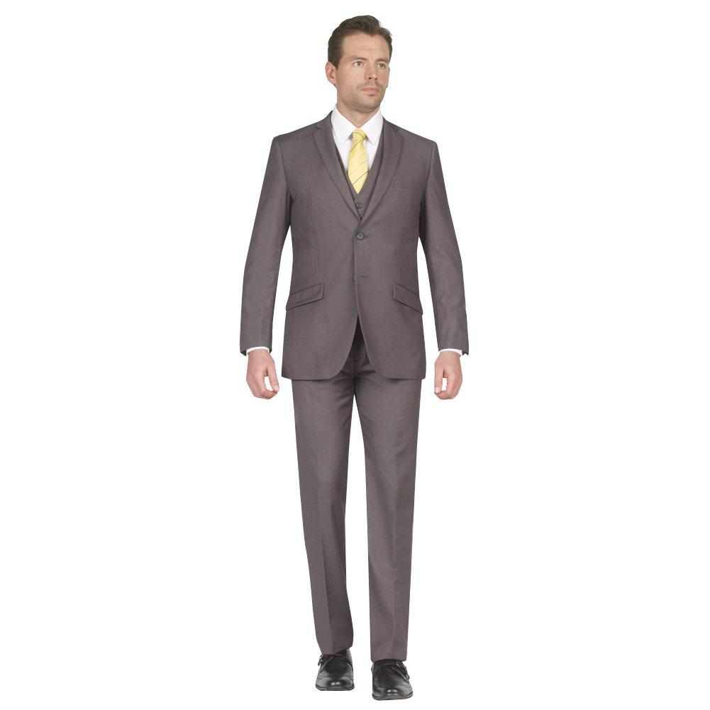 Tazio Mens Suit 2 Button 3 Piece Slim Fit Mid Grey 48L