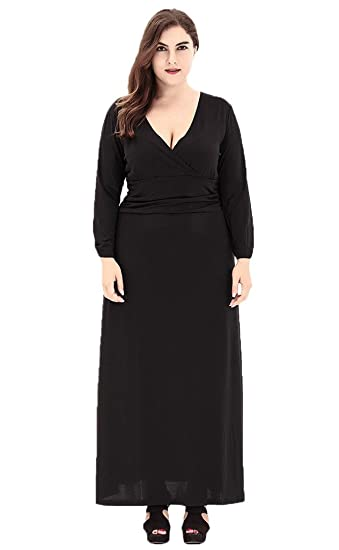 6ba27e9d23 Bigood Women Long Sleeve V Neck Party Casual Knitted Maxi Dress Black 3XL