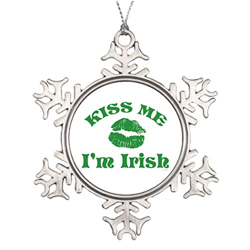 Tee popo Personalised Christmas Tree Decoration Shamrock St. Patty's Day Kiss Me I'm Irish Christmas Tree Snowflake Ornament