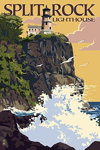 Split Rock Lighthouse - Minnesota (9x12 Collectible Art Print, Wall Decor Travel Poster) Lake Superior Lighthouses