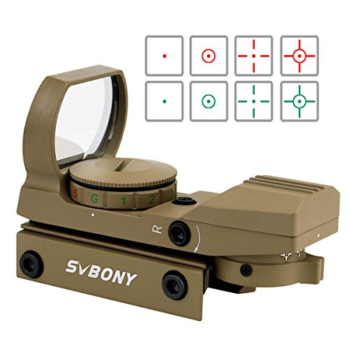 (SVBONY Green and Red Dot Sight for Reflex Sight Tactical Reflex with 4 Reticles and 5 Levels of Brightness Hd Night Sights Sand)