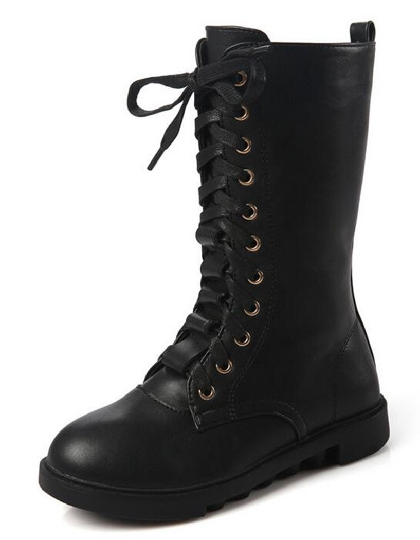 Bumud Kids Girls Boys Leather Round Toe Military Lace Up Mid Calf Combat Boots Winter Warm Snow Boots (11 M US Little Kid, Black)